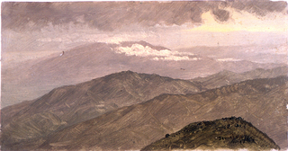 Horizontal view of a high mountain range in the background across a mountain top and two ranges in the middle plane.  Place and dates are written with the usual abbrevations, bottom right.