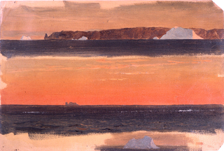 At the top, the mountain range is shown from the sea with the point being at left. Three icebergs float. Distant view of the cape. A margin at the bottom shows the grounding color. A floating iceberg is shown in the right center.
