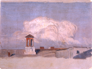 A pavilion rises in the left foreground.  An enormous cloud is shown in the center.  A narrow top and a broad bottom margin show the grayish ground color.  On verso:  indistinct unfinished pencil sketch of a mountainous landscape.