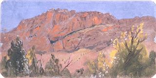 Drawing, Baalbek, mountaincur road, May 1868