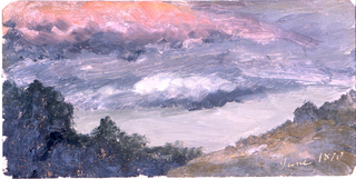 Horizontal image of tops of trees on left, a rising slope at right.  Clouds, some of which are red.  The date is written with color in the right bottom corner.