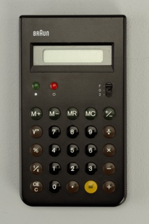 """Flat, black, upright rectangular form, the """"BRAUN"""" logo in white letters at top left, above rectangular window for numercial read-out; below window, at left, two small slightly domed buttons: green """"on"""" and red """"off,"""" with decimal place switch at right, all above five rows of slighly domed black, brown, and yellow function and number keys."""