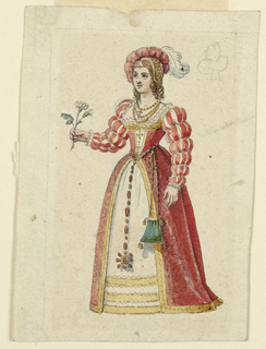 Margaret of Valois is shown standing holding a rose twig in her right hand.
