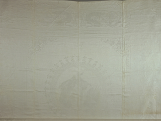 Design of six large medallions containing a scene from Lohengrin. Border around the cloth has interlacing bands forming circles and a lyre between confronted swans. Large monogram: E.S.H.