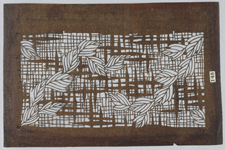 Leaf rinceaux on woven background.