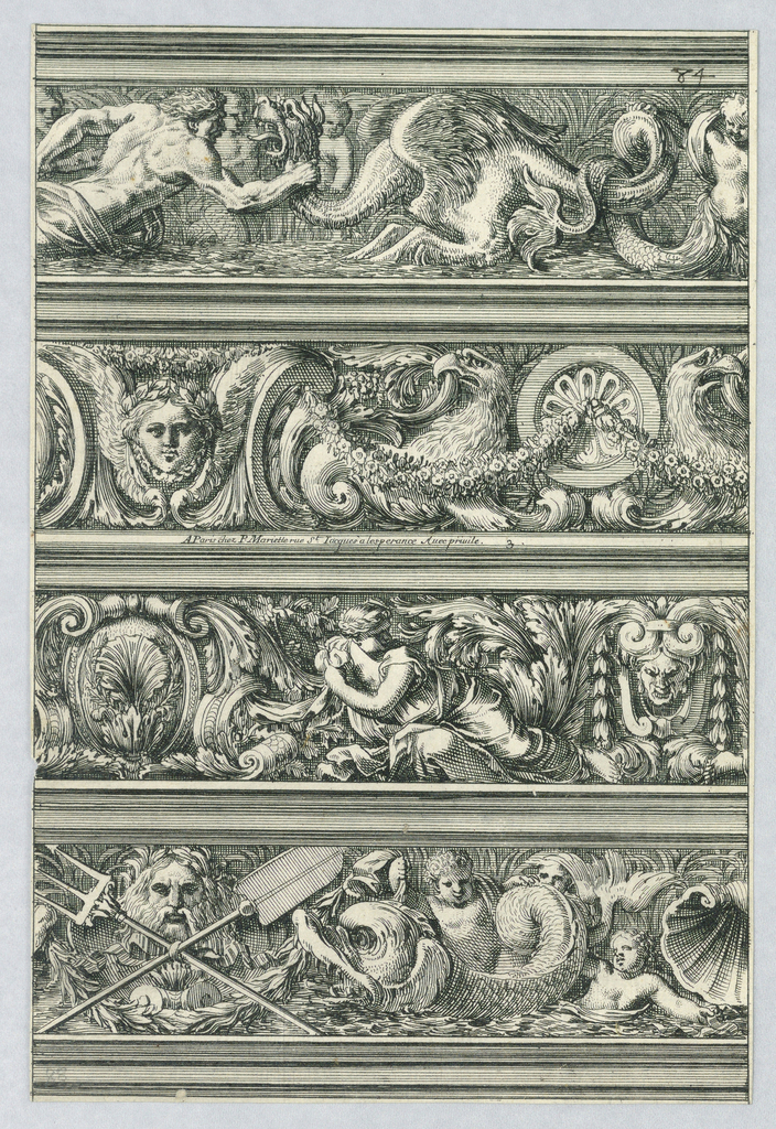 Sheet divided horizontally into four friezes. From the top: a sea monster; eagles with a festoon; a woman with a cloth; and putti with a dolphin and a river god mask.