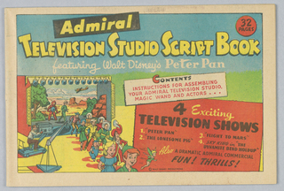 Toy Theater, Admiral Television Studio Script Book, Featuring Walt Disney's Peter Pan