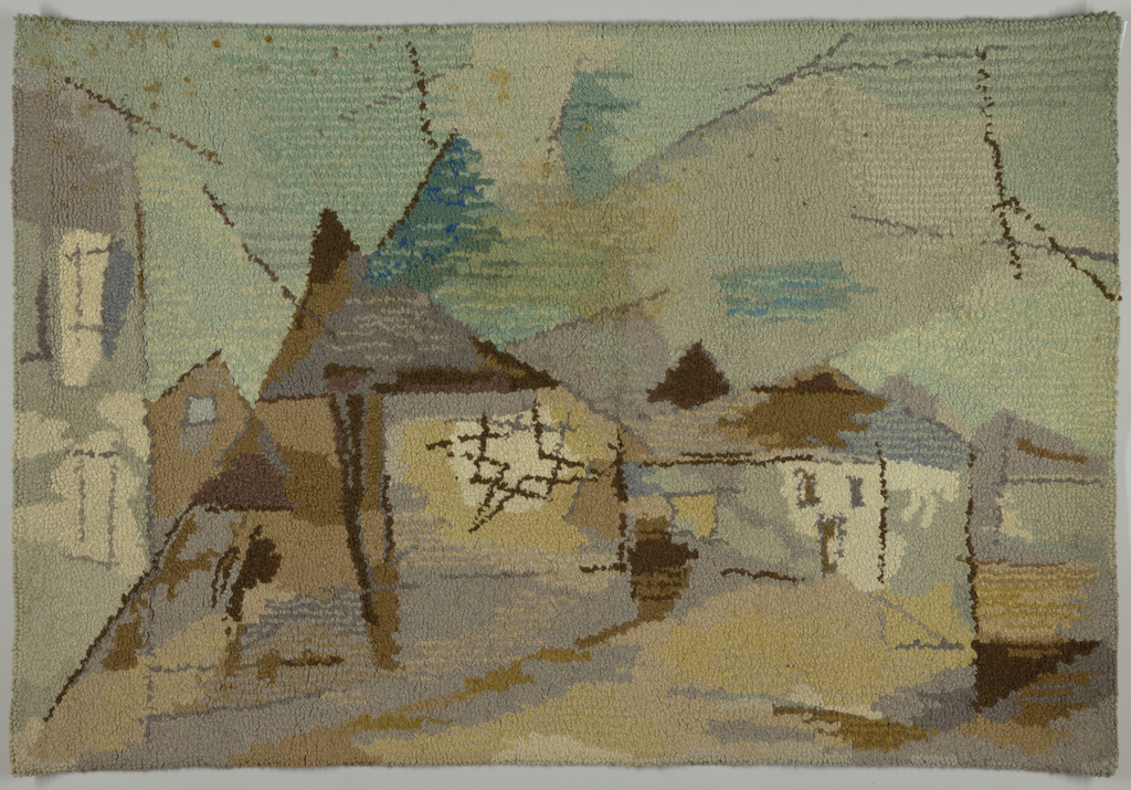 "Pictorial composition after Lyonel Feininger's ""Houses at Night."" Design shows lines and planes of color loosely defining architectural elements of houses in shades of blue-green, pale yellow, violet, grey and tan."