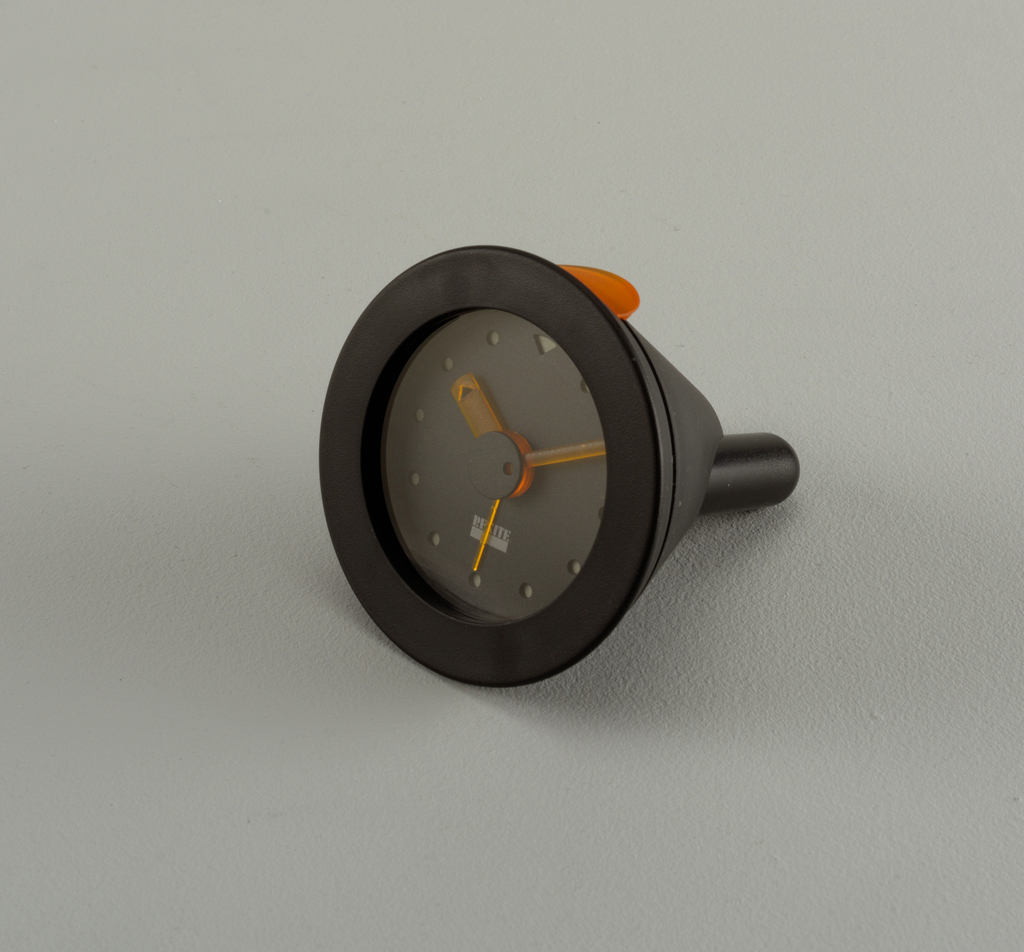 Black table clock with alarm.