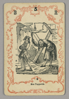 Six sets, numbered consecutively, of four cards each, printed with characters and scenes from Charles Dickens' novels, set in neo-rococo framework. Card numbered at top: B 5 R; below central image: 4.