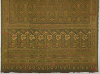Woven hanging with a wide border at bottom and continuous pattern above in muted red, yellow,green and dark brown. The border contains a lilly, a chrysanthemum and a butterfly and the guard band below a lotus-like plant. The field has a repeating pattern with full-face blossoms on a line forming an S-shaped grid.