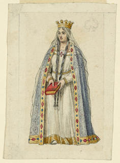 A queen in medieval attire is shown standing, holding a book with both hands.
