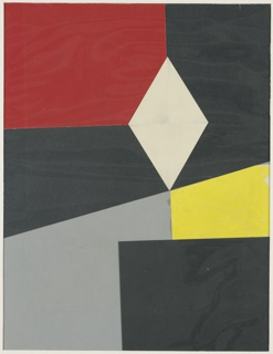 Various geometric shapes in black, gray, yellow, white, and red.