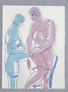 Illustration for Cassel & Co.'s edition of Arnold Bennett's book, Venus Rising from the Sea. Two figues adjust the straps of their garters and undergarments. The figure at left has one leg lifted up to rest on a chair, which is behind the figure at right. The figure at left is shaded in blue, while the figure at right is shaded in pink.