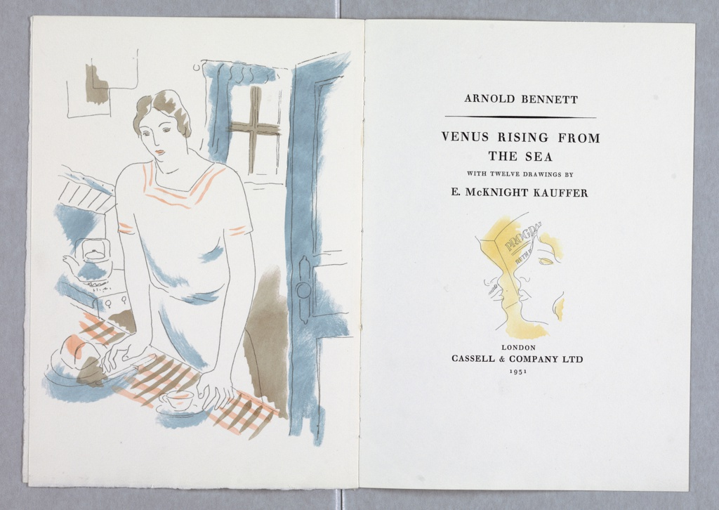 Layout and illustration for the title page of Cassel & Co.'s edition of Arnold Bennett's book, Venus Rising from the Sea. At left, an image of a figure leaning against a kitchen counter, shaded in blue and brown. At right, the book's title page, along with a depiction of two faces leaning towards one another, in profile, as if to kiss, shaded in yellow.