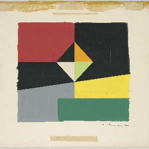 Possibly a design for a carpet. Various geometric shapes (diamond, triangle, rectangles) in red, black, yellow, green, and gray.