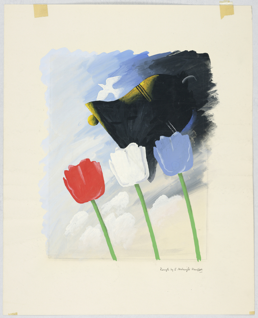 Three tall tulips in red, white, and blue in a desolate landscape at sunset. In the distance, architectural ruins of a town. At the ground, debris of war including helmets and coils of barbed wire.