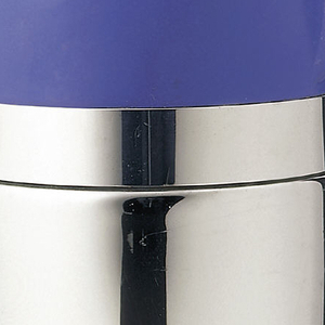 Bullet-shaped syphon bottle with a chrome plated metal cylindrical bottom and a blue top.