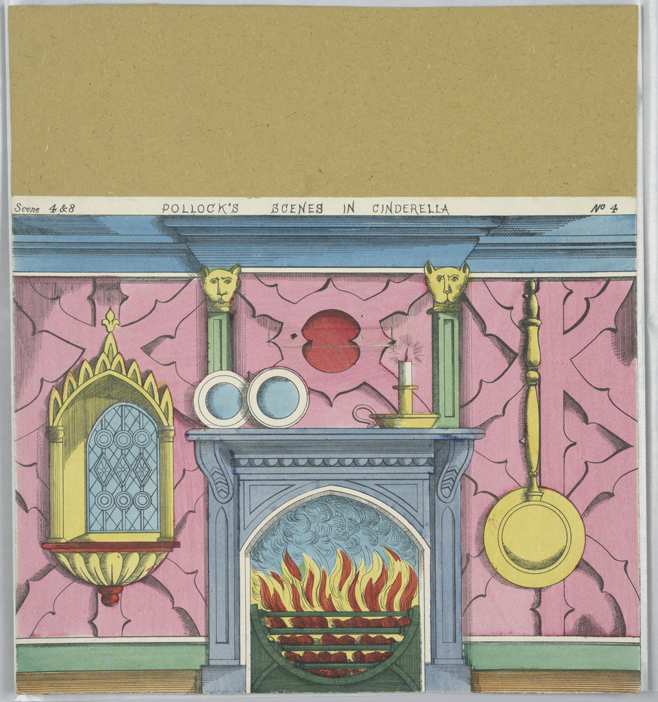 """No. 4, a fireplace, with hinged flap on wall covering motto """"Fear not, be patient / thy woes will soon end,"""" for Scene 4 and 8"""
