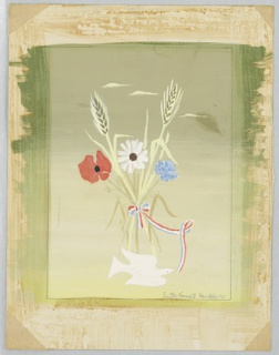 Bouquet of wild flowers with stalks of wheat tied with a ribbon in red, white, and blue. Below, a white dove.