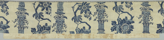 Long white valance resist printed in two shades of blue. Pillar design with foliage at the top. Two figures of naked boys clinging to pillar rendered in light blue. Between pillars are large flowers on a vine. Design is incomplete. Piece is bound on three sides with narrow tape printed in blue.