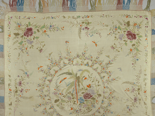 "Flowers and insects arranged in central and border ornaments. Donor says this came ""from the Palace of the old Empress,"" and was given to her mother, Mrs. Charles Warren Crane, by John Russell Young ""our first ambassador to China, who accompanied General Grant in his trip around the world."" Shawl lined with silk and used as table cover."