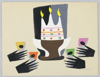At center, a footed bowl containing a cake with three candles; black hands surround brightly colored cocktail glasses on either side.