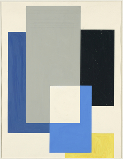 Geometric design consisting of overlapping rectangles in shades of gray, blue, yellow, and black on white ground.
