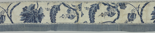 Long, straight valance in white with a resist design in two shades of blue. Incomplete pattern shows large scale foliage and flower. Edging of resist-printed tape in a simple blue and white vine design. Lined in blue-checked linen. Face down, below border with striped cotton in two shades of blue.