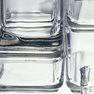 Set of 18 clear glass rectangular and square-shaped modular, nesting food and beverage storage containers and lids. Containers range in height from 1 3/4 in. to 6 1/4 in. Group includes: two 7 1/8 in. square dishes (-1,-2), one 7 1/8 in. square lid (-3); two rectangular dishes and lids (-4/-7), one tall  3 1/2 in. square pitcher (-8), two short 3 5/8 in. square pitchers (-11,-12), four 3 1/2 in. square dishes (-13/-16), four 3 1/2 in. square lids, (-9, -10,-17, -18).
