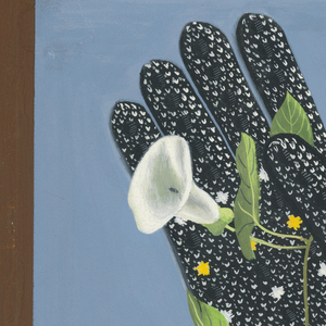 On white paper, vertical rectangle made of black, blue, and white horizontal bands surrounded by brown framing line. Within, a white rectangle floating in space, upon which stands a black knitted glove with white and yellow decorations. Between the thumb and the index finger, the hand holds a leafy stem of a white blossoming flower. Wispy white clouds indicated at right.