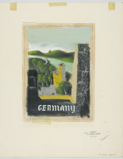 Design for a travel poster advertising Germany, likely for Pan American Airlines or American Airlines. View from a high vantage point of a town with crenellated castle and river surrounded by green banks. Inscribed in white blackletter text, lower center: GERMANY