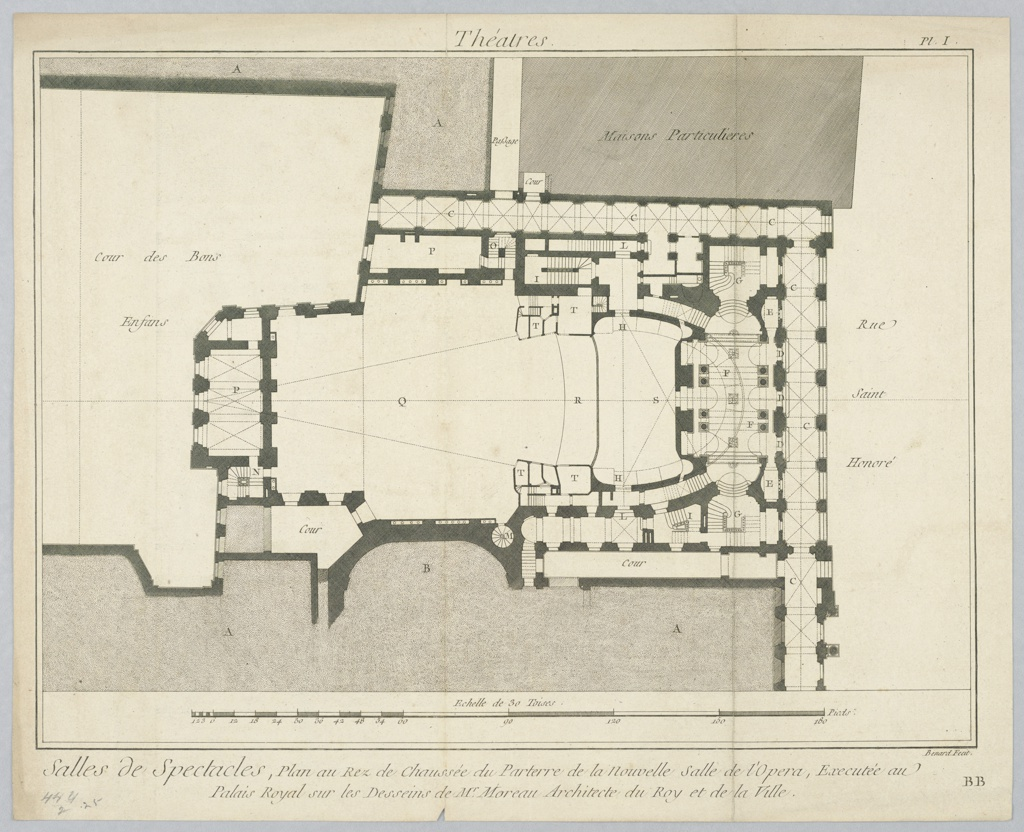 Print, Plan of the Ground Floor and the Pit for an Opera House, 18th century