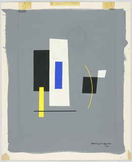 Rectangles in black, yellow, blue and white on a gray background.