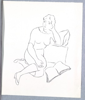 Illustration for Cassel & Co.'s edition of Arnold Bennett's book, Venus Rising from the Sea. At center, a seated figure, with legs bent and tucked under their body, leaning against a piece of furniture [?] in the background, at right. The figure supports their head with their left arm (the same arm that is propped against the furniture). A book lies open on the floor in front of the figure, at right.