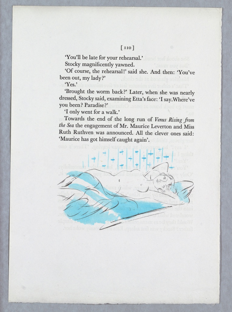 Page layout with an illustration for Cassel & Co.'s edition of Arnold Bennett's book, Venus Rising from the Sea. Below text at top, a female figure reclining on a piece of furniture, with her hands folded behind her head. The woman's body is draped in cloth only from the waist down. Behind her, a patterened curtain or wallpaper is indicated. Image is shaded in blue.