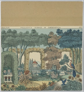 Print from a toy theater. View of an ornate and colorful garden with decorative hedge arches, leafy plants, trees, and flowers. A peacock perches on a tree branch above a group of sunflowers at right. Large pond in the middleground with a white swan swimming, small classic temple in background with mountains beyond.