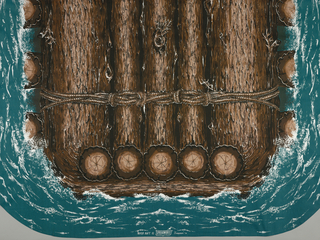 Bedspread with design of a log raft. Bird's eye view of the raft made of logs of three shades of brown, black and white, tied together by ropes, floating on a background of green-blue and white foaming water.  Four corners are curved.