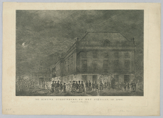 "Horizontal rectangle. The crowd leaving the theater through a door, filling the place outside. Two soliders stand in the doorcase. Three carriages and a sled are shown. Lanterns burn. The waning moon appears at left. Second state of the engraving. Caption: ""DE NIEUWE SCHOUWBURG BY HET VITGAAN,"" in 1786./ P. Conradi en V. v. d. Plaats excud. 1767."""