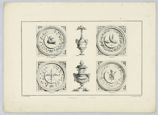 Vessels and Roundels with attributes of Tragedy, Juno, Jupiter, and Hymen.