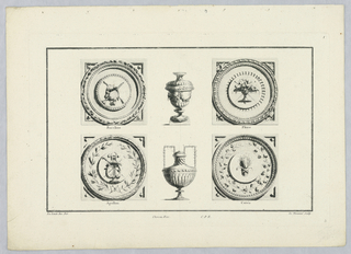 Vessels and roundels with attributes of Bacchus, Flora, Apollo, and Ceres.