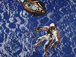 Bedspread with a reproduction of an actual photograph of an American astronaut on spacewalk with spacecraft. Silk-screened in brown, orange and white with royal blue and white lunar surface in the background. Four corners are curved. Commemorates United States moon landing, July 20, 1969.
