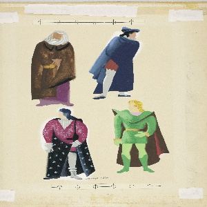 Illustration for an article in the magazine Seventeen, depicting four Shakespearean heros, arranged in two rows of two. At upper left King Lear, depicted as a figure of an old man wearing a brown fur coat over a purple robe. At upper right, Hamlet, depicted as figure in red tunic and white tights, wrapped in a blue cloack and wearing a blue hat. At lower left, Romeo depicted as a figure in a voluminous tunic with a star-spangled cape.  At lower right, Petruchio depicted as a blond-haired figure wearing green tunic and boots with a red cape. Above nd below figures, applied scales in blue and white.