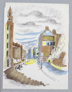 Illustration for Cassel & Co.'s edition of Arnold Bennett's book, Venus Rising from the Sea. A wide street runs between rows of buildings on either side. At left, a tall clocktower. At right, a gated park with a sidewalk in front. Image is shaded in brown, blue, yellow, and gray.