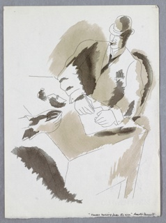 Illustration for Cassel & Co.'s edition of Arnold Bennett's book, Venus Rising from the Sea. A seated figure, wearing a hat, suit and tie, sits across a desk from a second figure, depicted only by their hands. The figure in the suit has both hands on top of the desk, and is writing on a piece of paper. Image is shaded in browns.