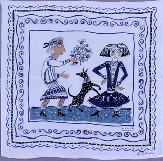 Off-white silk square scarf with a scene with a boy giving flowers to a girl, with a black dog standing on his hind legs between. Multiple concentric borders of straight and wavy lines, scrolling lines, and dots, in blue and black.