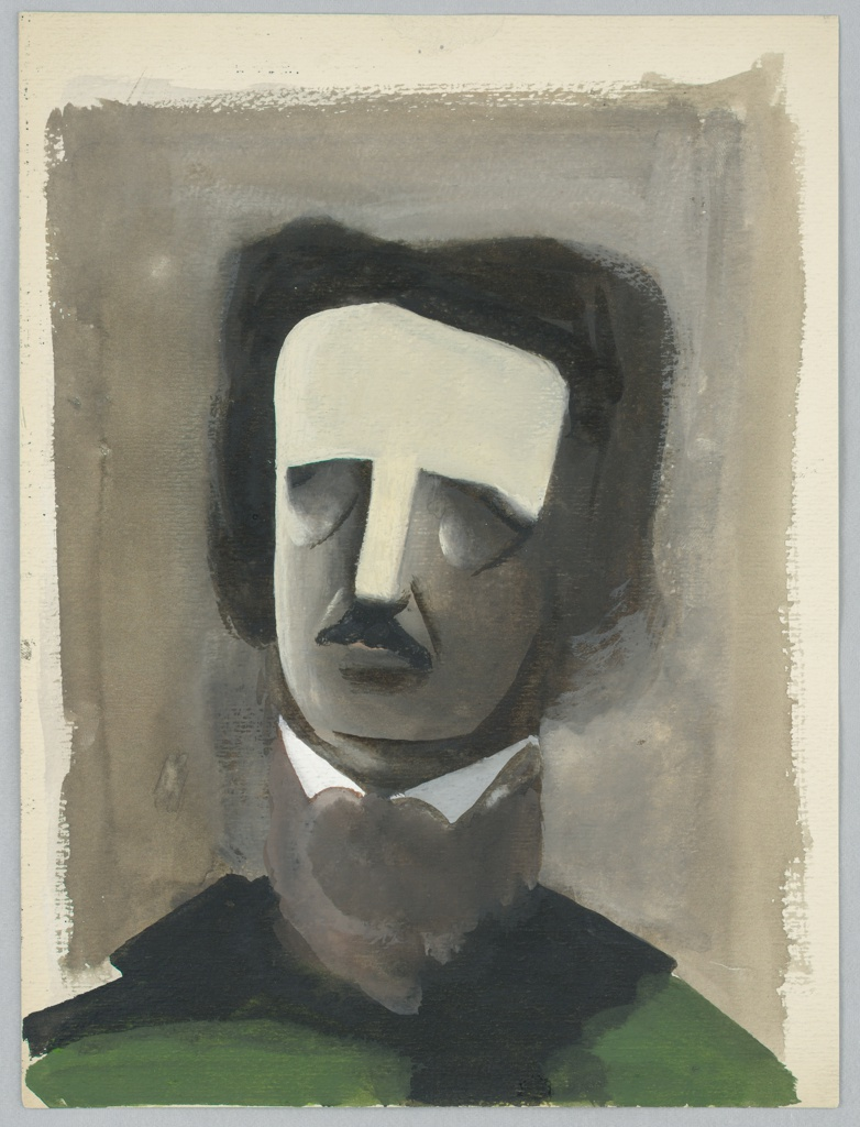 Portrait of Edgar Allan Poe with no eyes, or eyes closed, wearing high collar and green shirt.