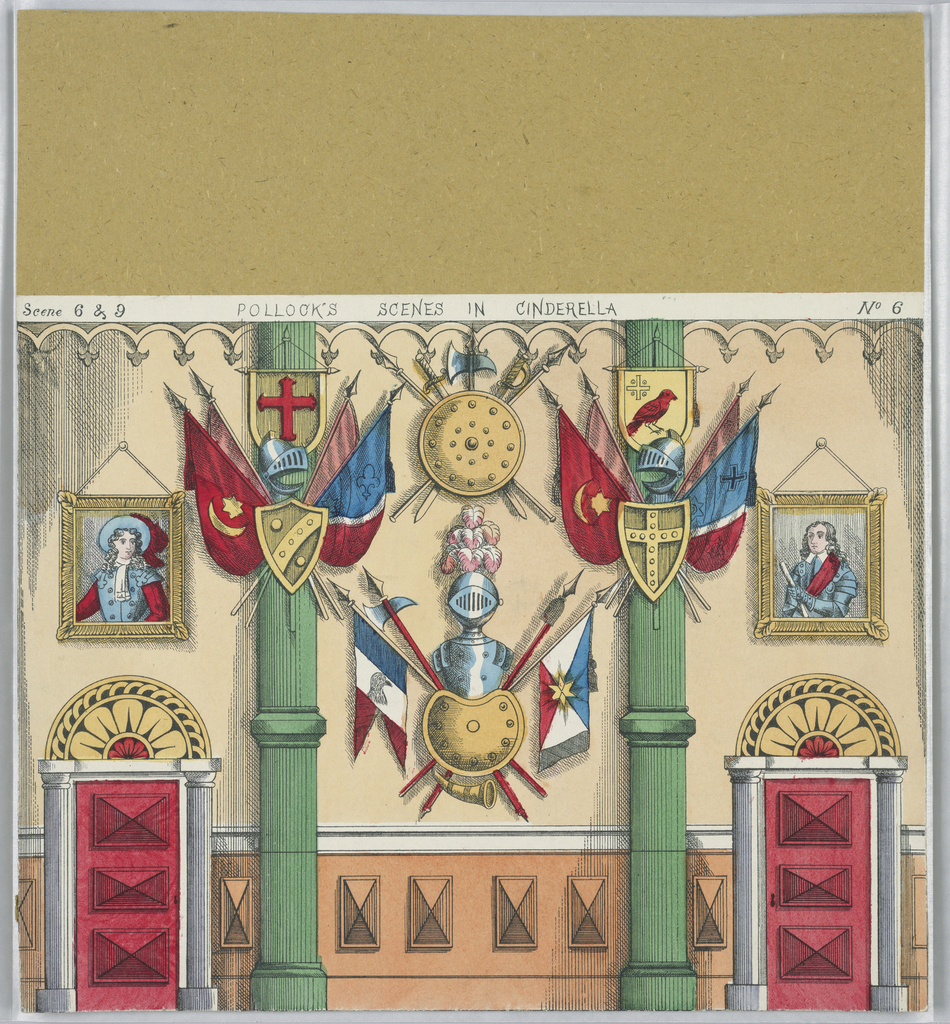 No. 6, a palace hall, with panoplies of armour, for Scenes 6 and 9