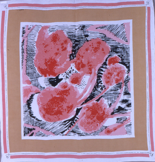 Square printed scarf with off-white ground and center square surrounded by several borders of varying thickness in white, mustard, and coral. Center square contains black linework evoking the hand and abstracted biomorphic forms in coral and red.