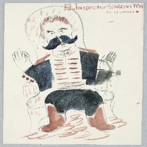Illustration of Isaak Babel's fictional character, Inspector Sokovitch, a police officer. At center, the figure of Inspector Sokovitch depicted with a large black moustache, wearing a uniform. The figure is seated in a chair and is gesturing with both arms raised by his shoulders. At top, in brown text: 13. Inspector SOKOVITCH / POLICE OFFICER [brown circle].